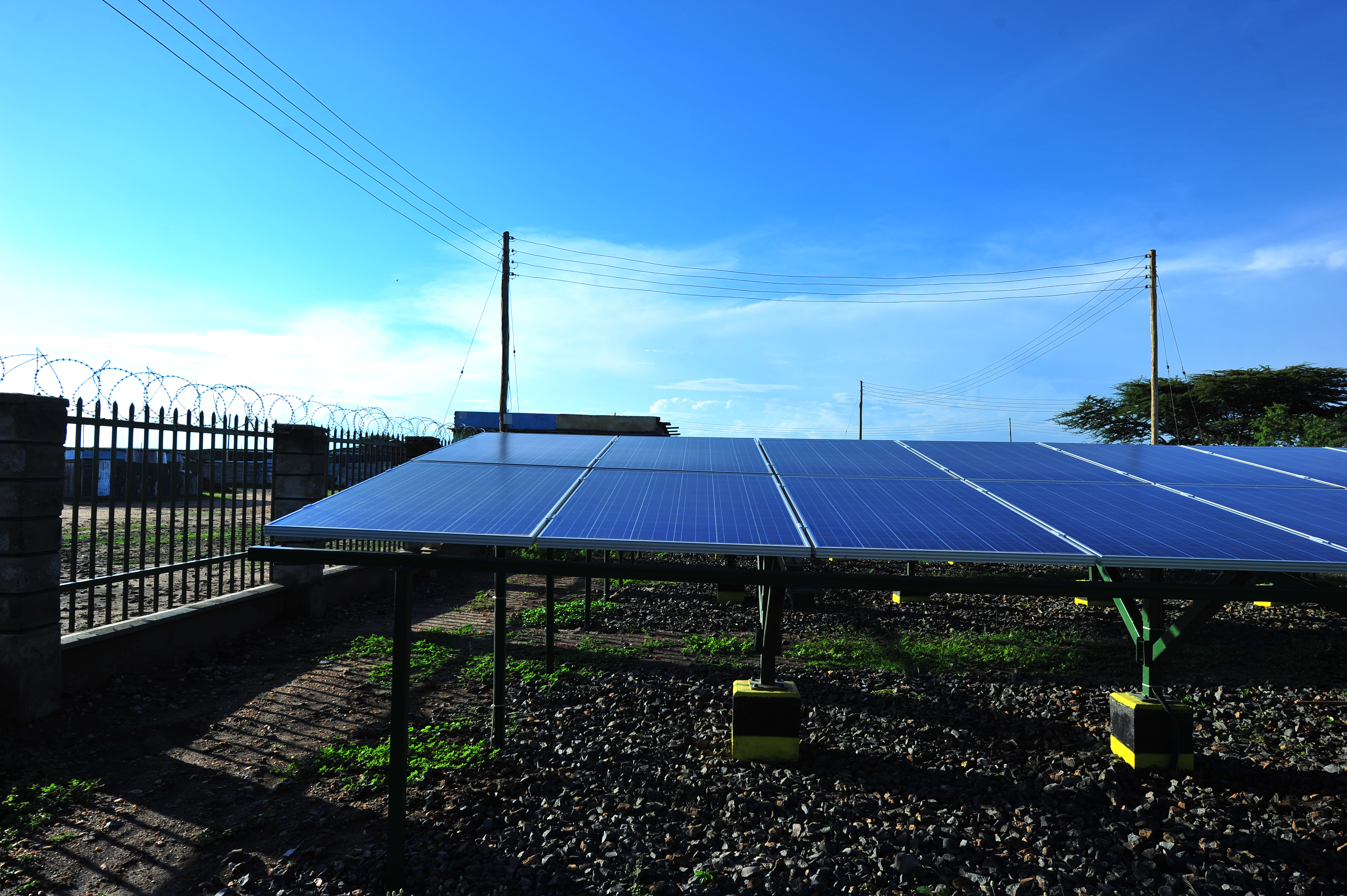 A view of solar panels and distribution lines at Talek Solar Power plant in Talek, Narok County. GIZ and other partners constructed  the power plant which will connect residents of Talek town to power for domestic and commercial use.