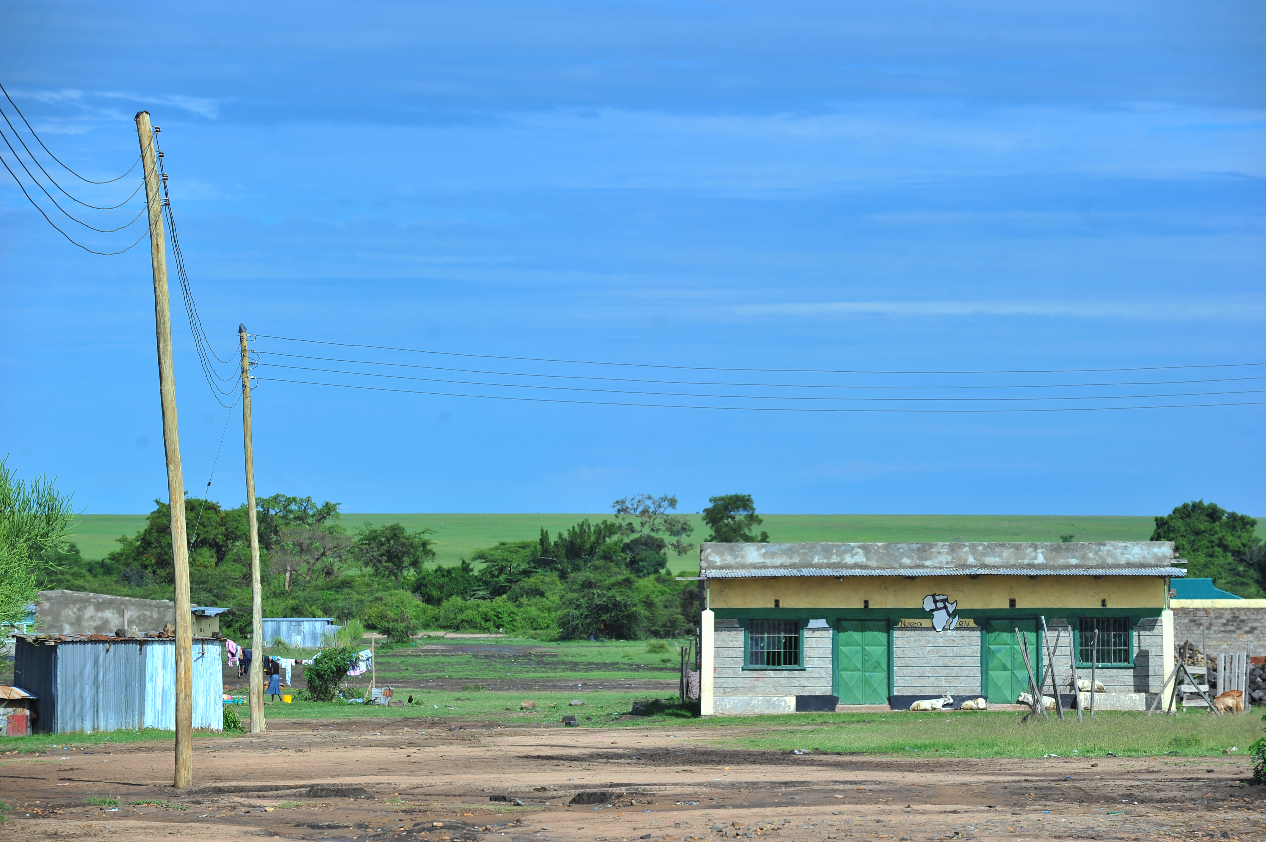 Complete power lines along domestic residences in Talek town. Through Talek Power, GIZ and other partners have constructed a solar power grid which will connect residents of Talek town in Narok to power for domestic and commercial use.